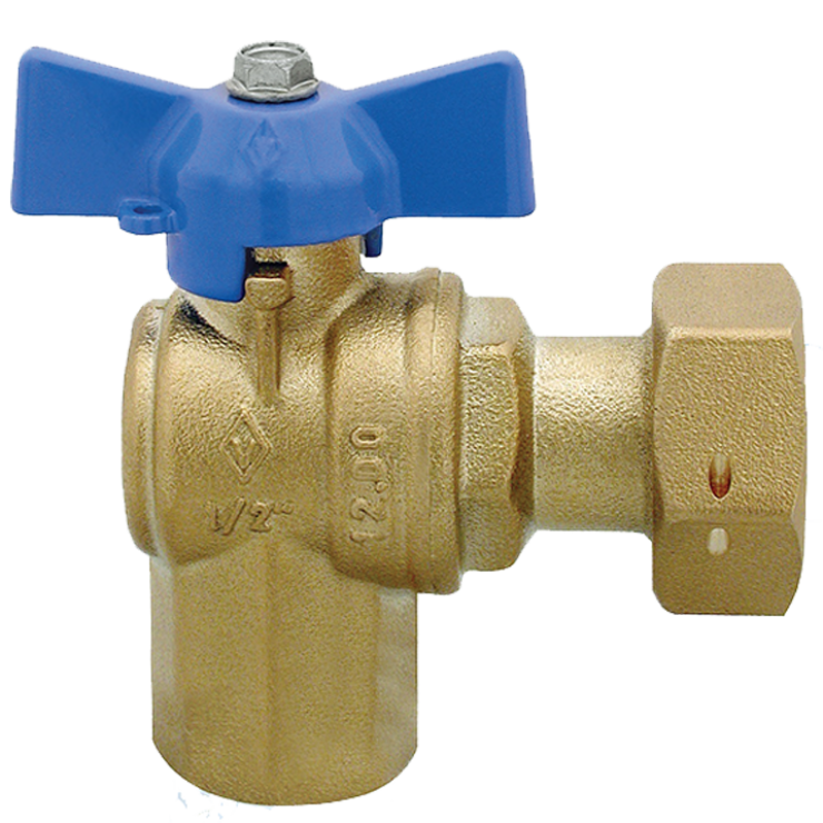DZR Ball Valve Angle Female with Female Swivel Nut