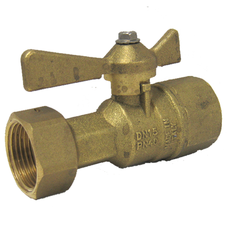 DZR Female Ball Valve, Lever Handle with Swivel Nut