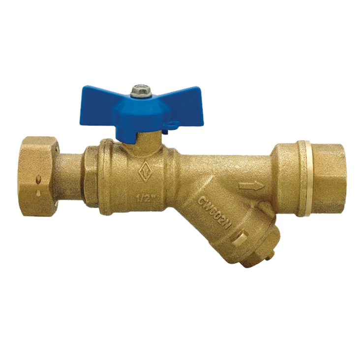 DZR Ball Valve Inlet Female with Female Swivel Nut & Filter