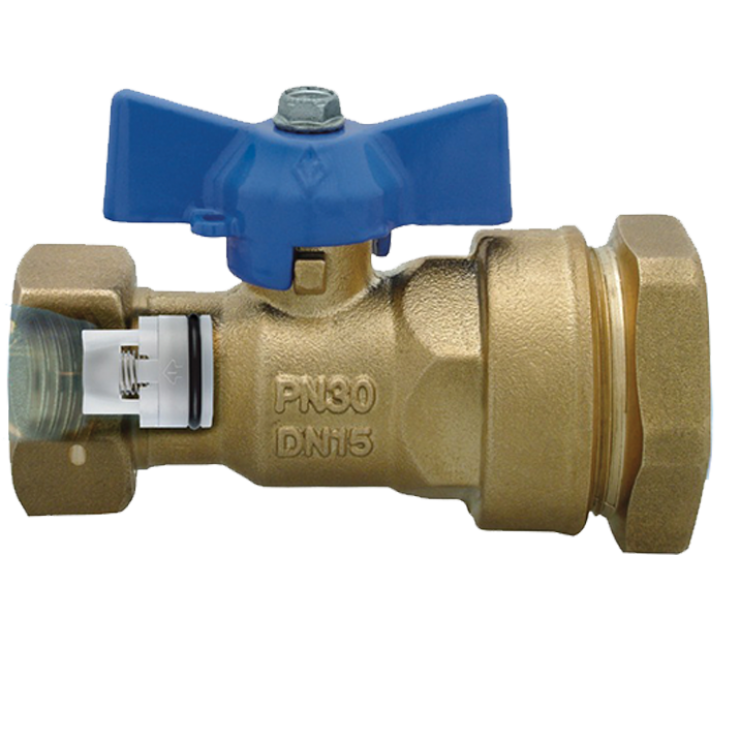 DZR Ball Valve Inlet Female with MDPE Pipe Connection, Female Swivel Nut & N/R