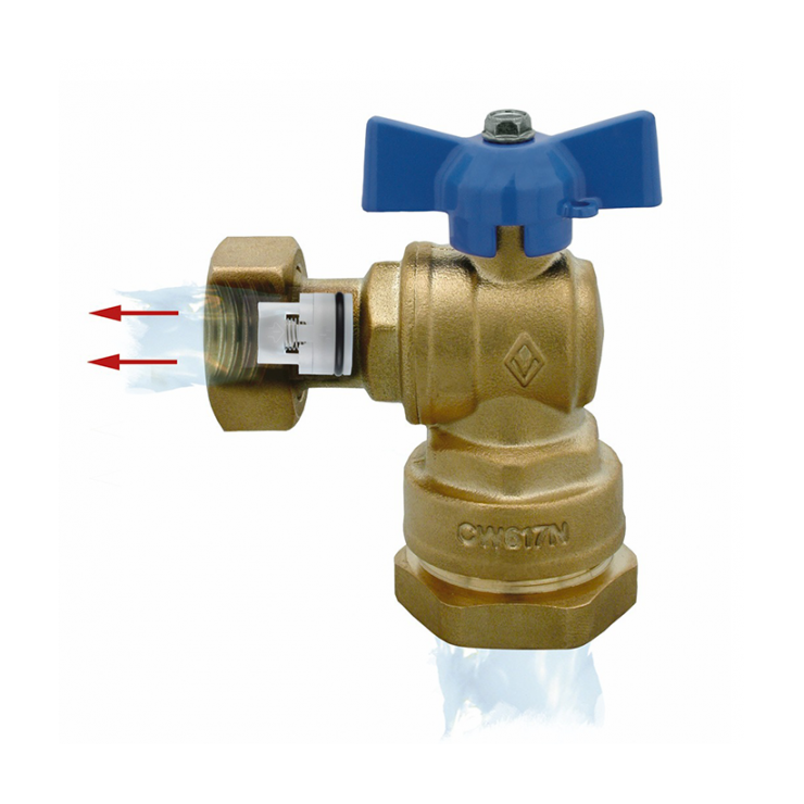 DZR Ball Valve Inlet Angle Female with MDPE Pipe Connection, Female Swivel Nut & N/R