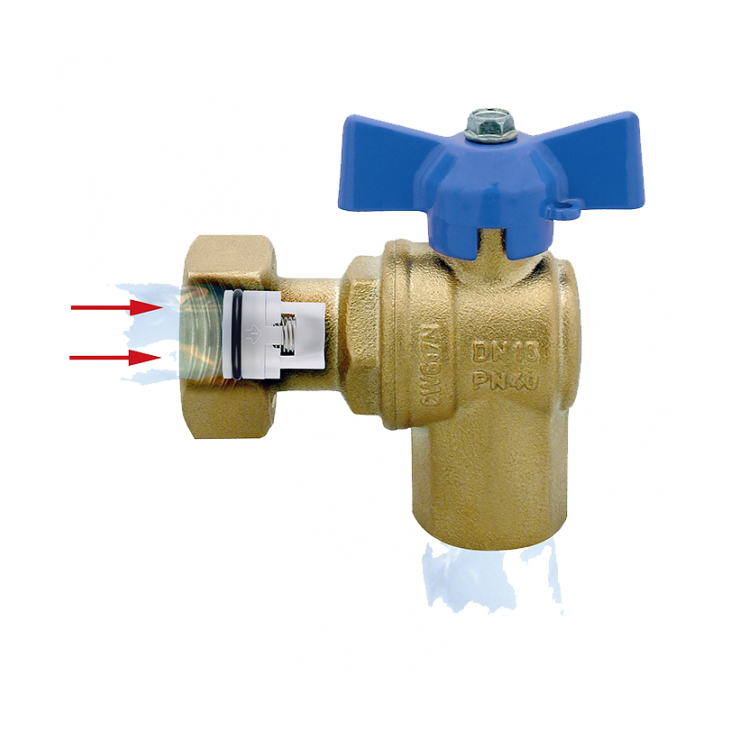 DZR Ball Valve Outlet Angle Female with Female Swivel Nut & N/R