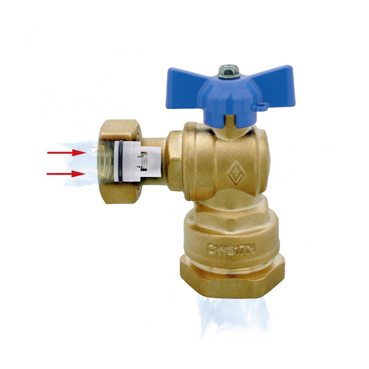 DZR Ball Valve Outlet Angle Female with MDPE Pipe Connection, Female Swivel Nut & N/R