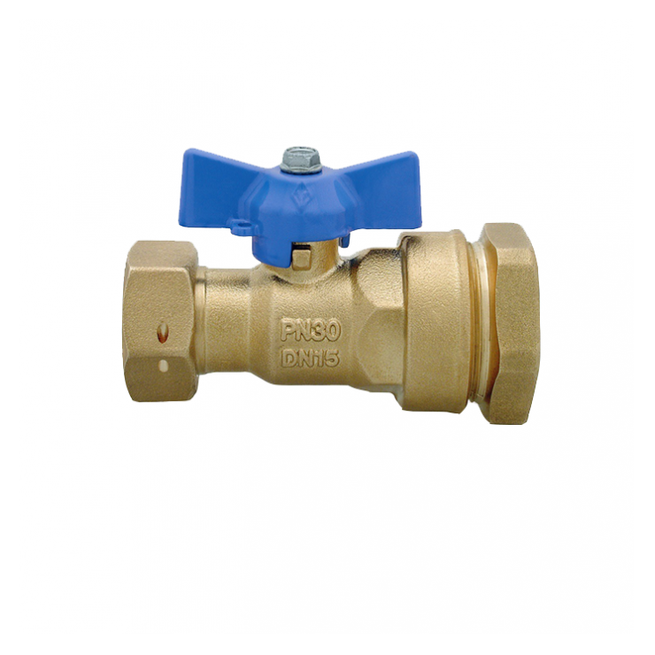 DZR Ball Valve Outlet Female with MDPE Pipe Connection, Female Swivel Nut & N/R