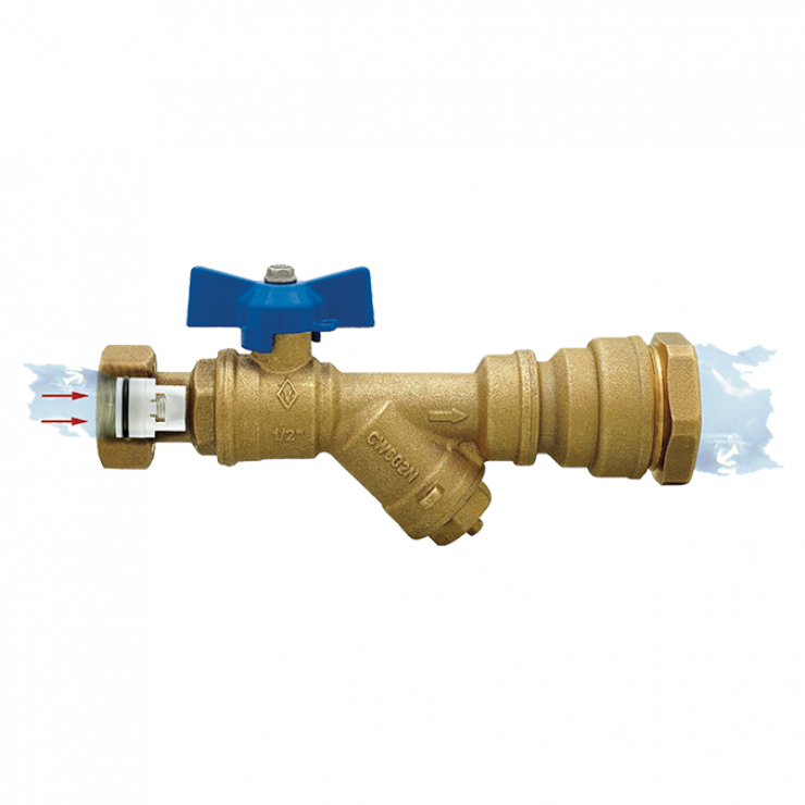 DZR Ball Valve Outlet Female with MDPE Pipe Connection, Female Swivel Nut, Filter & N/R